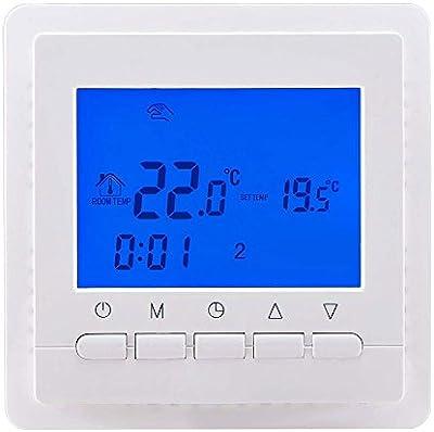 16A - Termostatos digitales programables de pared luz azul para calefaccion agua suelo radiante caldera calentadora electrica