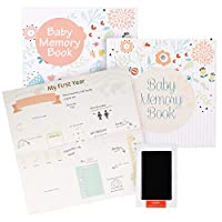 ehayas First 5 Years Baby Memory Book Journal with Wall Poster and Baby-safe Ink Pad - A Baby Record Book Photo Album for Boys and Girls