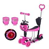 Yorbay 3 in 1 - Monopattino per bambini, Scooter per bambini, mini 3 ruote a LED Luce con sedile rimovibile e manubrio regolabile, Rosa