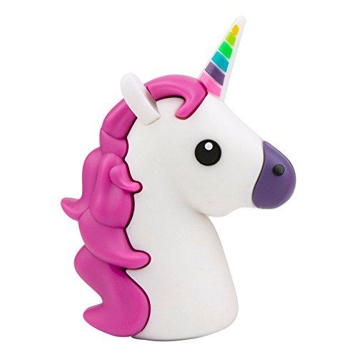 Emoji-Powerbank, UBMSA 2017 Upgrade-Version 2600mAh Externes Ladegeraet im Unicorn-Emoji-Design in Tuerkis-Rosa fuer Smartphones und andere Geraete mit USB-Anschluss - inklusive Micro USB-Ladekabel