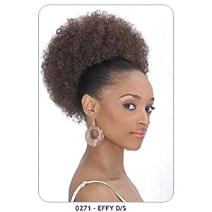 New Born Free Synthetic Drawstring Ponytail Large Size Afro Puff: EFFY D/S Item #0271 (Color 1 Jet Black) by BornFree
