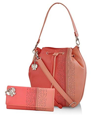 Butterflies Women's Handbag and Wallet Combos' (Dark Peach) (BNS WB0231)