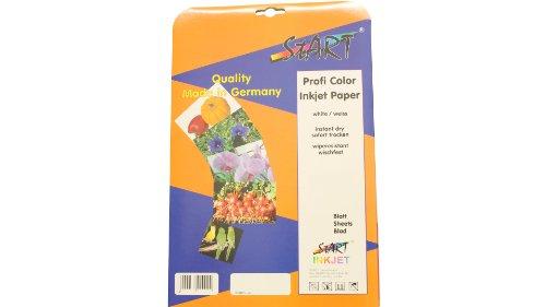Start - 100 feuilles double face brillant DIN A4 220 g/m² papier photo pour imprimante à jet d'encre, immédiatement sec, imperméable, très blanc, haute brillance des couleurs