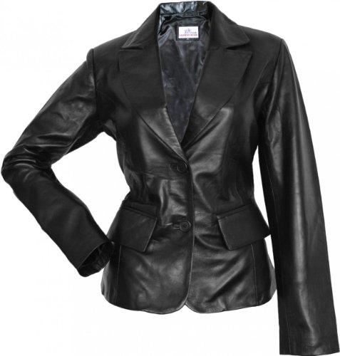 Damen Lederblazer Lederjacke Blazer echtleder Jacke aus Lammnappa Leder Schwarz, Größe:XL (Leder Blazer Damen)