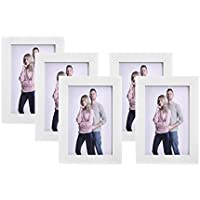 SONGMICS Juego de 5 Marcos de Fotos 10 x 15 cm, Portafotos de Madera, Vidrio Frontal, Regalo, Tablero de MDF Blanco RPF35WT