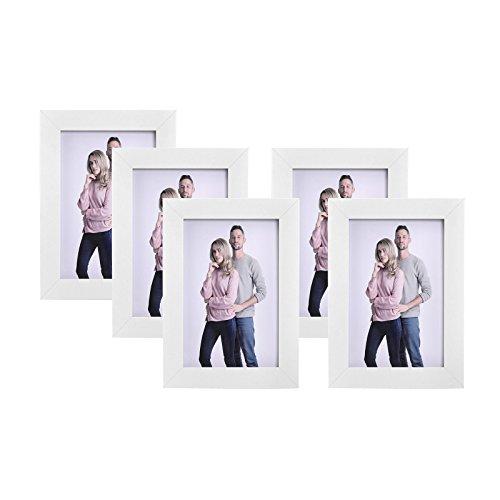 n Set im 5er-Set, 10 x 15 cm, Fotorahmen mit Glasscheibe, Rahmen Weiß RPF35WT ()