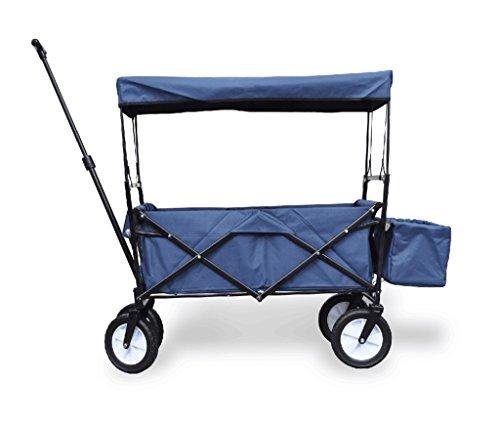 Hand-LKW-Einkaufswagen-T-Griff Anhänger/Kind-kampierender Warenkorb/Decken-Schattierung vier Runden Gepäck-Wagen/Van Load 68 Kg (Farbe : Dunkelblau)