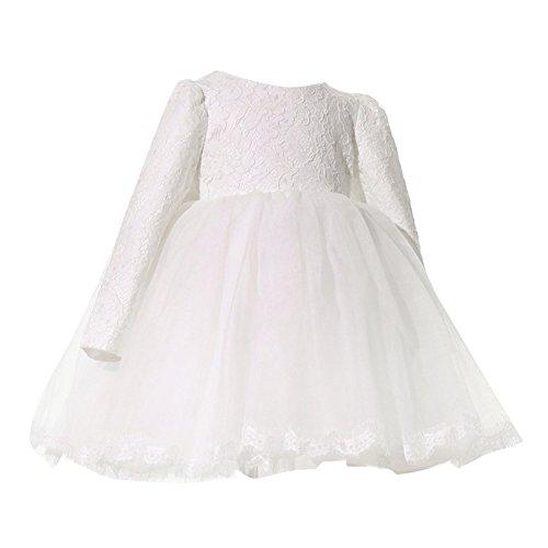 Kleinkinder Baby Mädchen Prinzessin Partykleid Kleid Blumenspitze Hochzeit Taufkleid Tüll Festzug Weiß/110cm