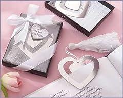 Idea Regalo - Disok-Elegante segnalibro a cuore, in sacchettino con fiocco