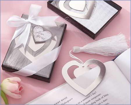 Disok-Elegante segnalibro a cuore, in sacchettino con fiocco