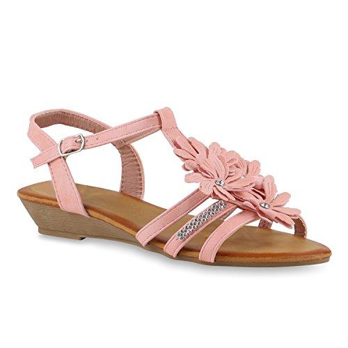 Leder Sandale Denim (Damen Keilsandaletten Sandaletten Denim Bast Leder-Optik Blumen Keilabsatz Sandalen Wedges Strass Schuhe 143510 Rosa Autol 39 Flandell)