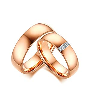 Beydodo 2 Ehering Edelstahl Damen Herren mit Zirkonia Breite 6 mm Rund Verlobungsring Rosegold Partnerringe