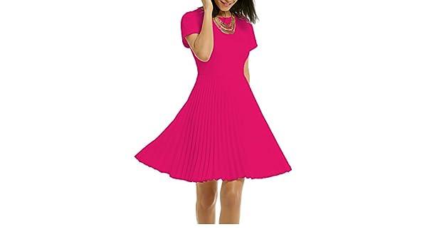 WOOSEA Womens Elegant Pleated Short Sleeves Cocktail Party Swing Dress - Purple - Medium: Amazon.co.uk: Clothing