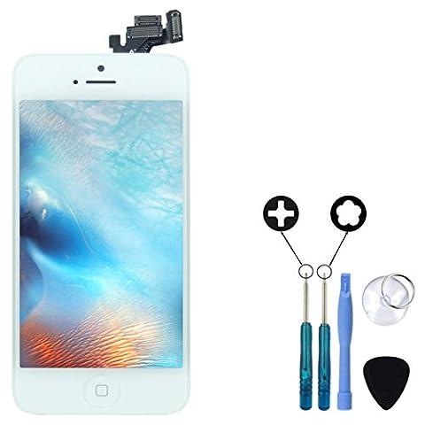 Kit de Réparation iPhone 5 Blanc Ecran 100% complet pour montage Express Vitre Tactile + Ecran LCD Rétina sur châssis prémonté + caméra avant et bouton Home + outils