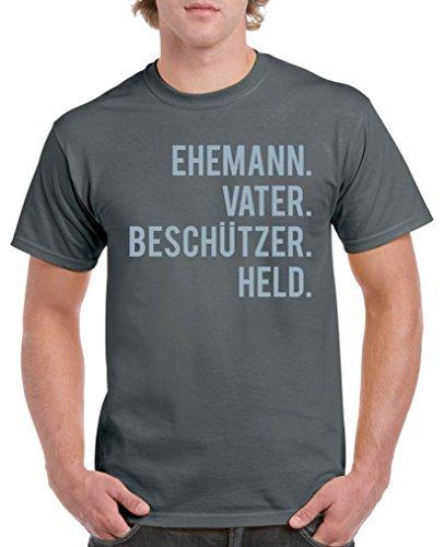 Comedy Shirts - Ehemann. Vater. Beschützer. Held. - Herren T-Shirt - Dunkelgrau / Eisblau Gr. L (T-shirt Freunde Toms)