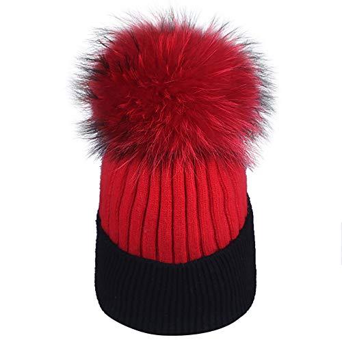 ZZBO Mütze Damen Strickmütze mit Bommel Herbst Wintermütze Bommelmütze Hüte Warme Gestrickte Beanie Mütze Wolle Hut Zweifarbig