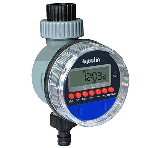 Aqualin Kugelhahn Bewässerungsuhr Garten Automatische Elektronische Bewässerungscomputer Bewässerungssystem Wasserzeitschaltuhr Farbe Blau