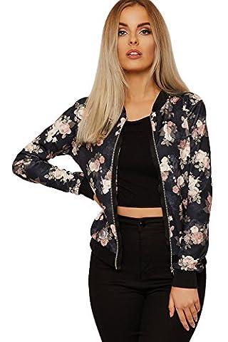 Women's Floral Bomber Jacket Ladies Long Sleeve Rose Print Zip Crew Neck UK Size 8-14 (XL (UK 16-18),