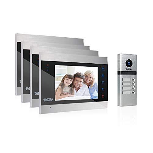 TMEZON Video Türsprechanlage Türklingel Intercom System, Türsprechanlage mit 7 Zoll 4-Monitor 1-Kamera Für Familienhaus, Touch-Taste, Nachtsicht, Unterstützung automatisch Snapshot/Aufnahme
