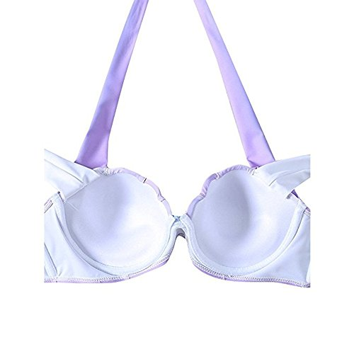 Outgobuy Frauen Farbverlauf Shell Bikini Set Gepolsterte Meerjungfrau Badeanzug(Asian Size) Schale-B