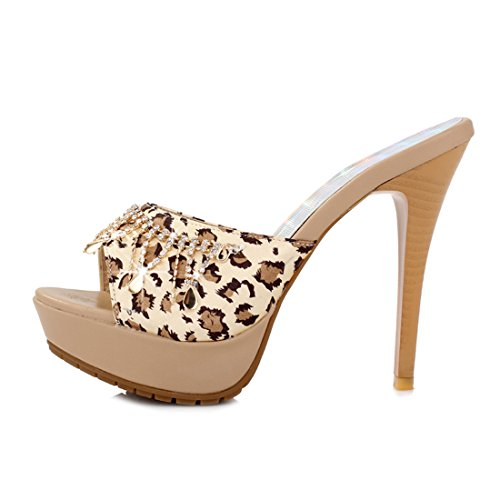 UH Damen Plateau High Heels Offene Zehe Leopard Sandalen mit Stiletto 12cm und Strass Slides Schuhe Beige