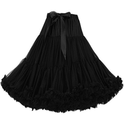 FOLOBE Frauen Tutu Kostüm Ballett Tanz Multi-Layer Puffy Rock Erwachsene luxuriöse weiche Petticoat, M, Schwarz (Professionelle Kostüm Verkauf)