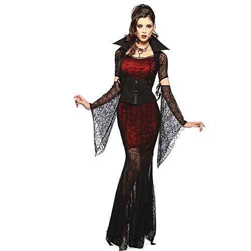 LVLUOYE Costume da palco, Sexy Abito di Pizzo Vampiro Costume, Strega Gioco Halloween Party, Uniforme della Regina del Male