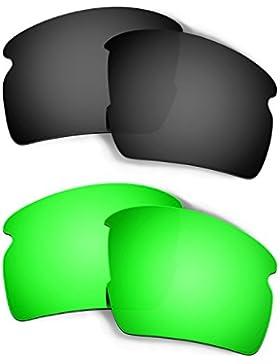 Hkuco Mens Replacement Lenses For Oakley Flak 2.0 Black/Emerald Green Sunglasses
