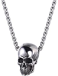 U7 Classic Stainless Steel Skull Pendant Necklace Biker Gothic Skull with Chain Collar Punk Rock Jewellery