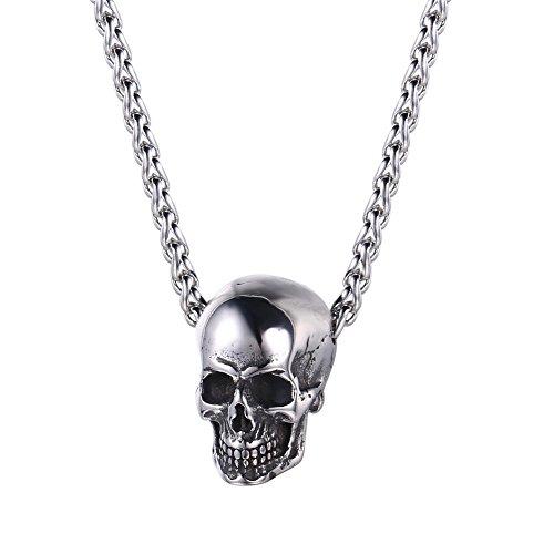 U7 Collar con Colgante de Cabeza de Calavera de Halloween, Acero...