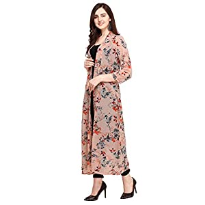 Serein Women's Pink Floral Georgette Longline Shrug/Jacket with Full Sleeves (X-Large)