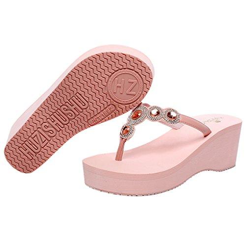 Aelegant Femme Tongs Été Pantoufles Chaussons à Talons Hauts Sandales avec Diamants de Véricle Rose