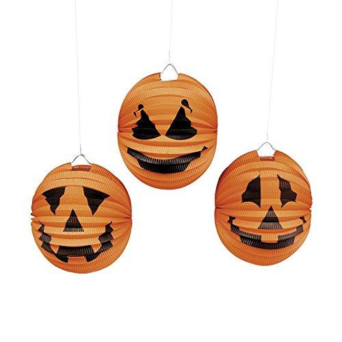 Halloween Kürbis Laterne 6 Stück Lampion 3 Motive Horrorparty Gruselparty Deko Palandi®