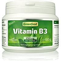 Greenfood Vitamin B3 Niacin (mit Flush-Effekt), 250 mg, hochdosiert, 120 Tabletten, vegan – das Glücks-Vitamin, fördert die Durchblutung. OHNE künstliche Zusätze. Ohne Gentechnik.