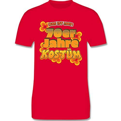 (Karneval & Fasching - Das ist Mein 70er Jahre Kostüm - XL - Rot - L190 - Herren T-Shirt Rundhals)