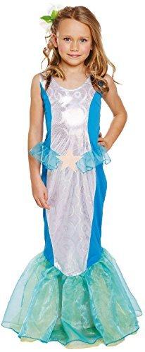 Mädchen kleine Meerjungfrau Prinzessin büchertag Woche Halloween Kostüm Kleid Outfit 4-12 Jahre - Blau, 4-6 Years (Meerjungfrau Kleine Halloween-kostüm)