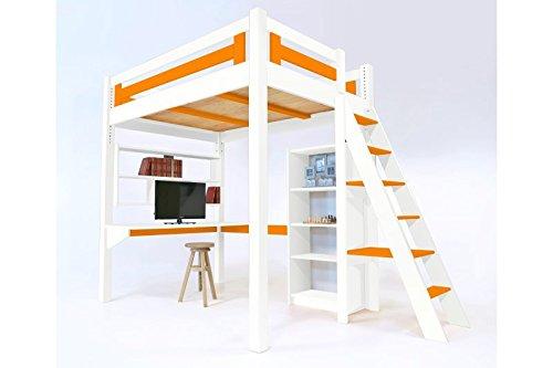 Etagenbett Knuth Kiefer Massiv 90x200 Weiß Lackiert Neu : Abc meubles hochbett alpage mit treppe alpagech weiß orange