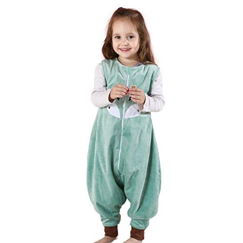 MICHLEY Baby Schläfer Flanell Tragbar Decke Pyjama, Leicht Baby Mädchen ärmel Schlafanzug schlafsack Mit Füße- Gr. M-(2.5-5 Jahr), Grün (Ärmeln Decke)