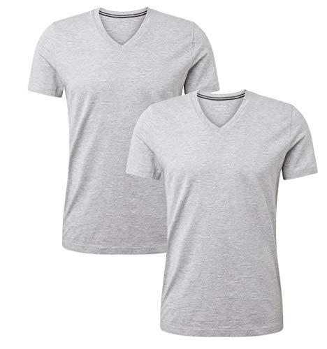 TOM TAILOR Denim Herren V-Neck T-Shirt, per Pack Grau (Light Stone Grey Mel 15398), Medium (Herstellergröße: M)