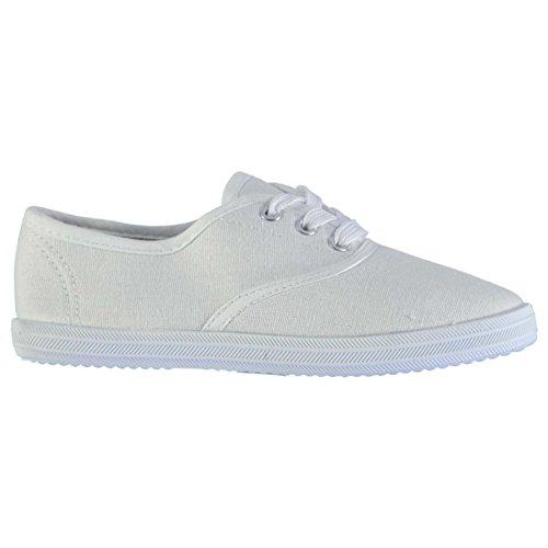 Heatons Kinder Canvas Schuhe Sneaker Turnschuhe Freizeit Sport Schnuerschuhe Weiß