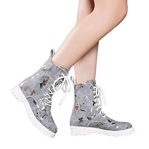 MYMYG Damen Chelsea Boots Frauen-Platz-Absatzschuhe Martain Boot Leather Keep Warm Round Toe Lace-Up Schuhe Ankle Boots Flache Schuhe Freizeitschuhe Schlüpfen Stiefeletten