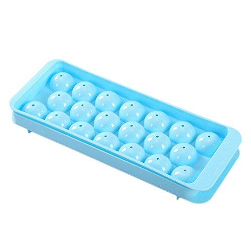 Uesae Ice Cube Formen mit Deckel ICE Ablagefächer Ball Eisförmchen für kühle Getränke 20Löcher 24,5* 9,5* 4cm blau