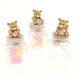 Idea Regalo - Subito disponibile 6 PEZZI LEO Orsetto rosa Barattolo portaconfetti battesimo bambina
