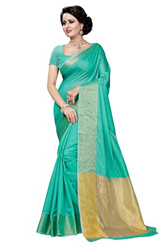 Vatsla Enterprise Cotton Saree With Blouse Piece(Vrnishbneavyblue1_Light Green Free Size)