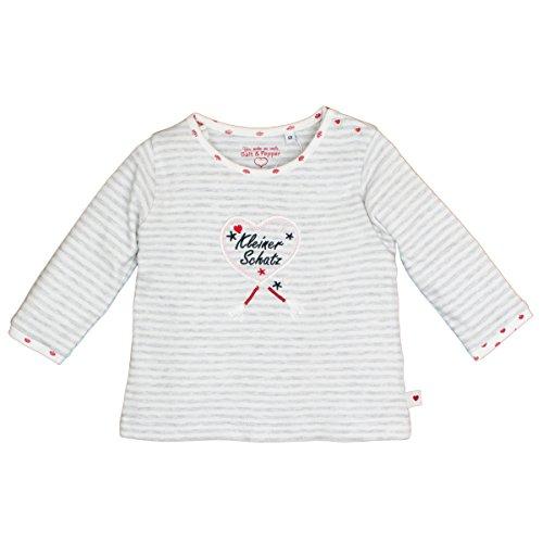 SALT AND PEPPER Baby-Mädchen NB Longsleeve Schatz Stripe Langarmshirt, Grau (Light Grey Melange 201), 62 - Sleeve Grey Stripe Shirt