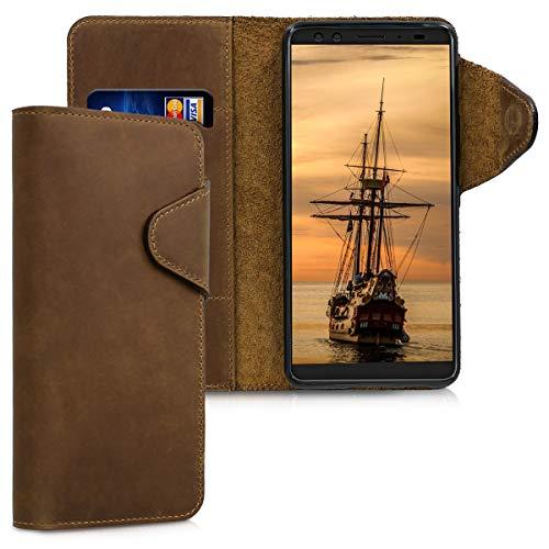 kalibri HTC U12+ / U12 Plus Hülle - Leder Handyhülle für HTC U12+ / U12 Plus - Handy Wallet Case Cover