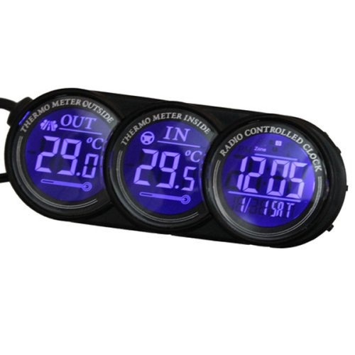 Blau LED Digital Car Innen Außen Thermometer Kalender Clock