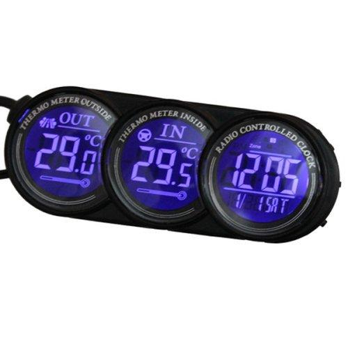 Blau LED Digital Car Innen Außen Thermometer Kalender Clock