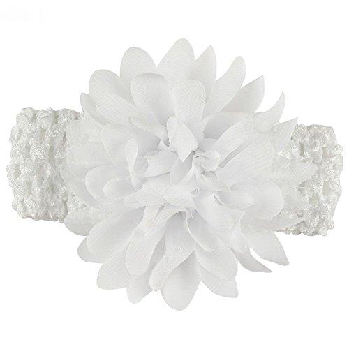 CAOLATOR 1X schönes Haar Band Baby Stirnbänder Chiffon Haar Blume Element Typ Kopfbedeckungen für Mädchen (Weiß)