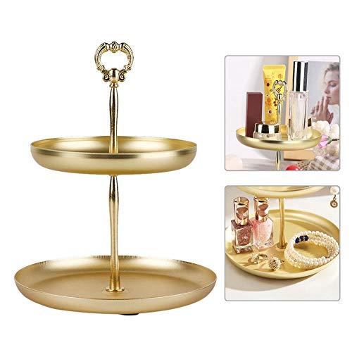 2 Schicht Schmuck Display Tabletts, Ohrringe Ringe Halskette Lagerregal, Desktop Kosmetik Container Rack, Dessert Tablett Gold Organizer Vintage Dekoration Dessert-container